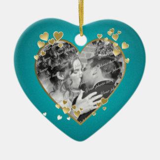 Teal Hearts and Ribbon Photo Ceramic Heart Decoration