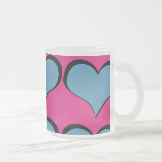 Teal Hearts on Pink Mugs