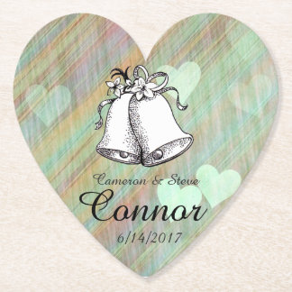 Teal Hearts Personalized Wedding Bell Coasters