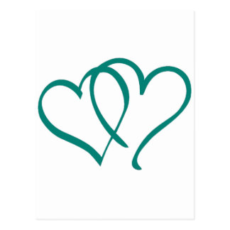 Teal Hearts Postcard