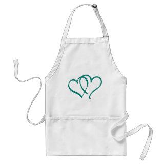 Teal Hearts Standard Apron