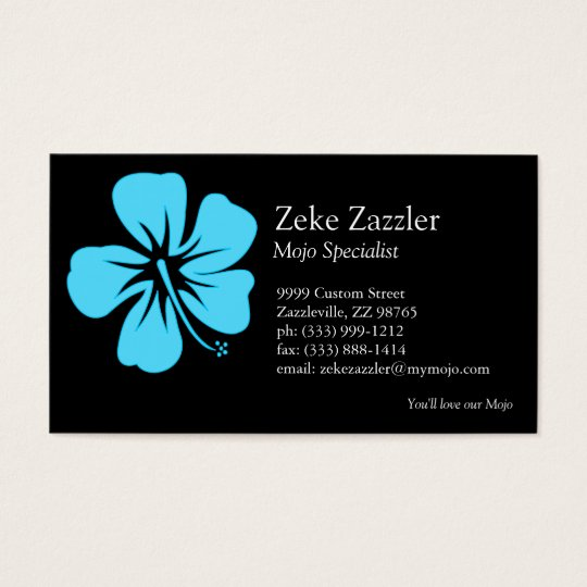 Teal Hibiscus Business Card