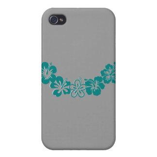 Teal Hibiscus Lei Hawaii Souvenirs iPhone 4 Covers