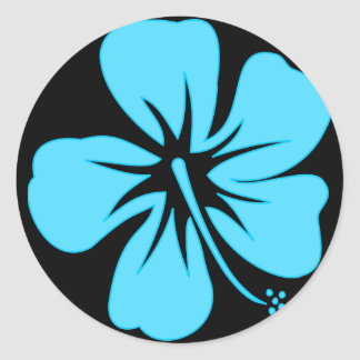 Teal Hibiscus Stickers
