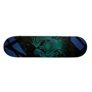 Teal Hipster Tiger Nebula with Black Triangle Skateboard