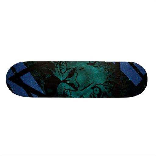 Teal Hipster Tiger Nebula with Black Triangle Skateboard
