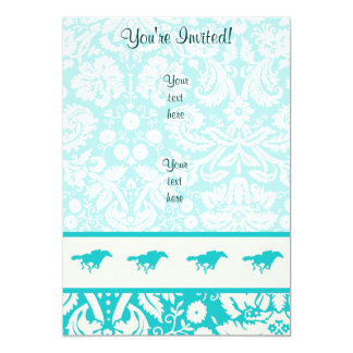 Teal Horse Racing 13 Cm X 18 Cm Invitation Card