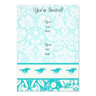 Teal Horse Racing 13 Cm X 18 Cm Invitation Card