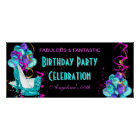 TEAL HOT PINK Banner Birthday Party Celebration 2 Poster