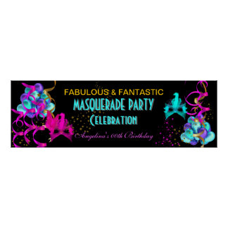 TEAL HOT PINK Banner MASQUERADE Birthday Party Poster