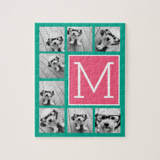 Teal & Hot Pink Instagram 8 Photo Collage Monogram Jigsaw Puzzle