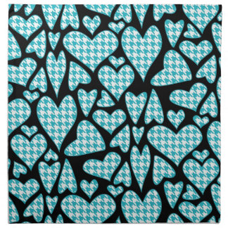Teal Houndstooth Hearts Cloth Napkin