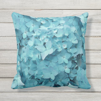 Teal Hydrangea Flowers Decorator Throw Pillow