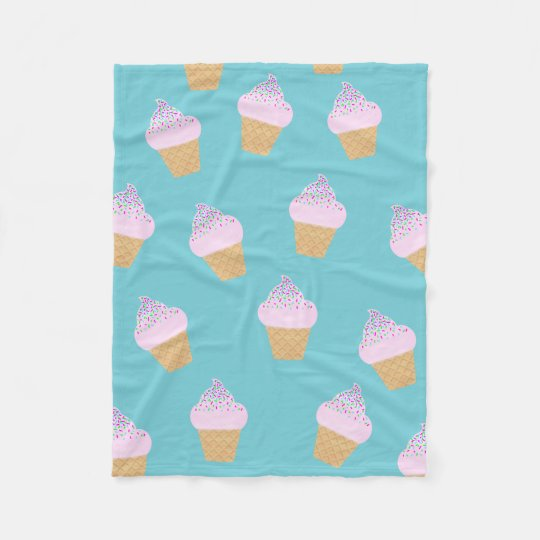 Teal Ice Cream Cone Fleece Blanket