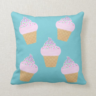 Teal Ice Cream Cone Throw Pillow
