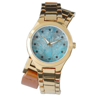 Teal Impasto Women's Abstract Fine Art Watch