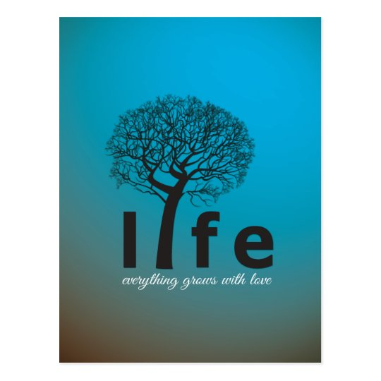Teal Inspirational Life Tree Quote Postcard