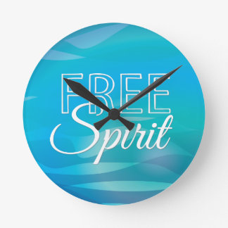 Teal Inspirational Spritiual Freedom Quote Round Wallclock