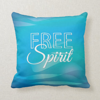 Teal Inspirational Spritiual Freedom Quote Throw Pillow