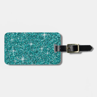 Teal iridescent glitter bag tag