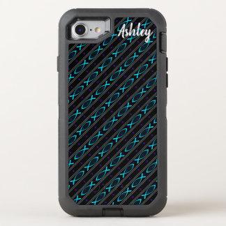teal Jesus fish pattern OtterBox Defender iPhone 8/7 Case