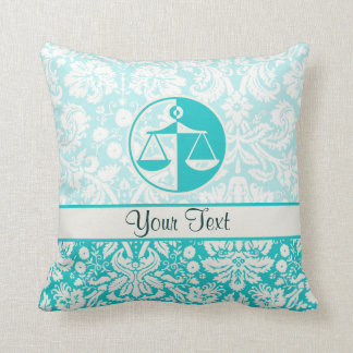 Teal Justice Scales Cushion
