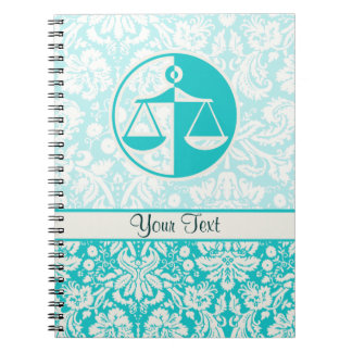 Teal Justice Scales Spiral Notebook