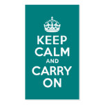Teal Keep Calm and Carry On Pack Of Standard Business Cards