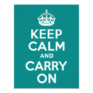 Teal Keep Calm and Carry On Card