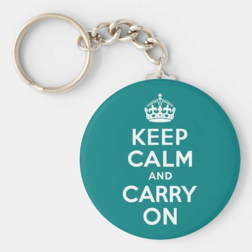 Teal Keep Calm and Carry On Keychain