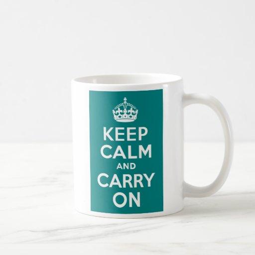 Teal Keep Calm and Carry On Coffee Mug