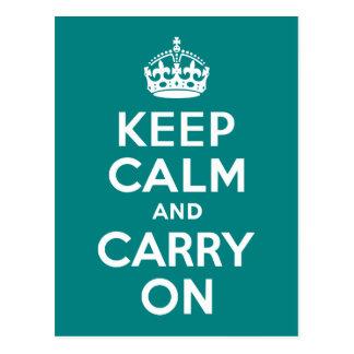 Teal Keep Calm and Carry On Postcard