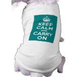 Teal Keep Calm and Carry On Sleeveless Dog Shirt