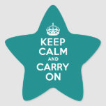 Teal Keep Calm and Carry On Star Stickers