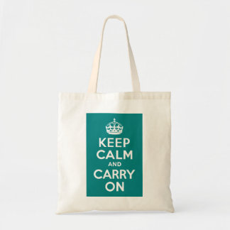 Teal Keep Calm and Carry On Tote Bag