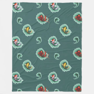 Teal Koi Fish Pattern Fleece Blanket