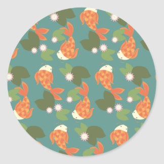 Teal Koi Pond Round Sticker