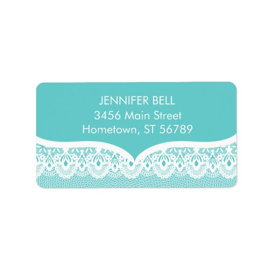 Teal Lace Address Label