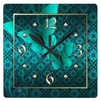 Teal Lace Butterflies Clock