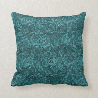 Teal Lace Pattern Cushion