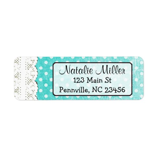 Teal Lace Polka Dot  Return Address Labels