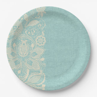 Teal Lace Shabby Chic Paper Plate 9 Inch Paper Plate