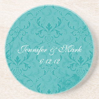Teal Lace Wedding Favor Coasters
