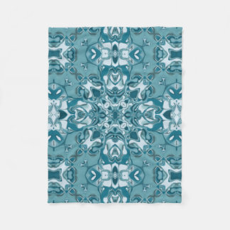 Teal Lacy Circular Kaleidoscope Pattern Fleece Blanket