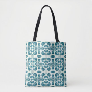 Teal Lacy Square Kaleidoscope Tote Bag