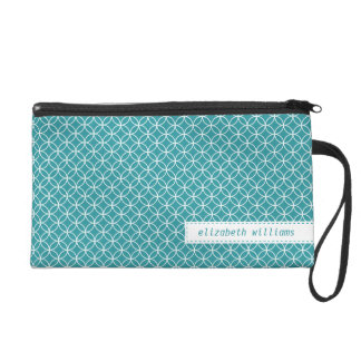 Teal Lattice Circles Pattern Wristlet Clutches