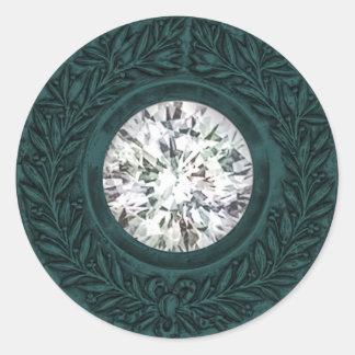 Teal Laurel Wreath and Diamond Envelope Seal Round Sticker