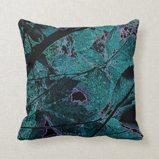 Teal Leaf Filigree Accent Pillow