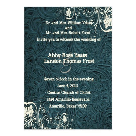 Teal Leather and White Lace Wedding Invitation