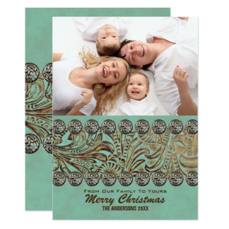 Teal Leather Country Western Christmas Photo Card